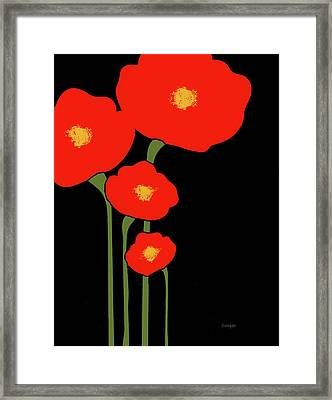 Four Red Flowers On Black Framed Print