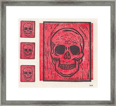Four Red Skulls Offset Framed Print
