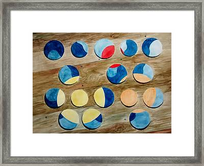 Four Rows Of Circles On Wood Framed Print by Andrew Gillette