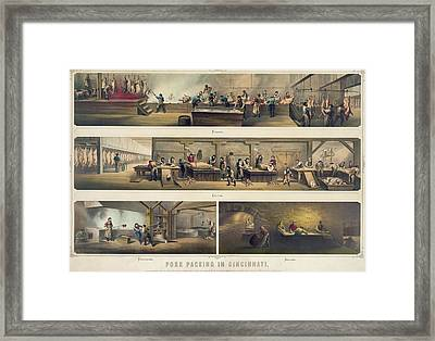 Four Scenes In A Pork Packing House Framed Print by Everett