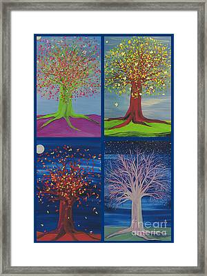 Four Seasons Trees By Jrr Framed Print