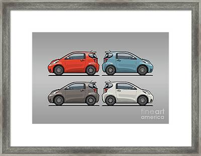 Four Toyota Scion Iq Micro Cars Framed Print by Monkey Crisis On Mars