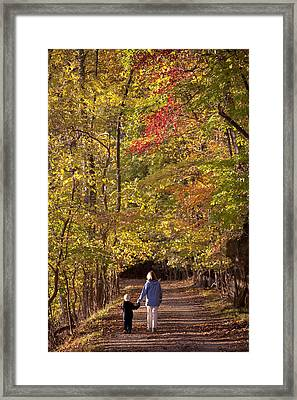 Four Year Old Boy And His Mom Walk Hand Framed Print by Skip Brown