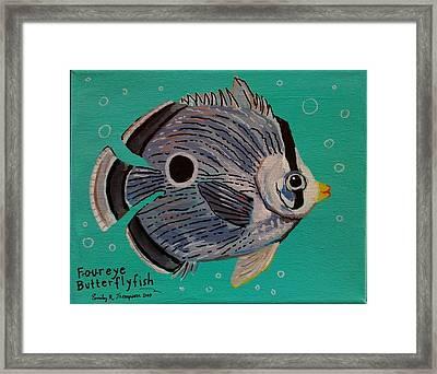 Foureye Butterflyfish Framed Print by Emily Reynolds Thompson