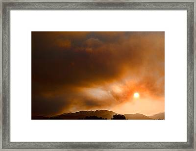Fourmile Canyon Fire Sun Setting  Framed Print by James BO  Insogna