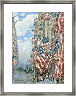 Framed Print featuring the painting Fourth Of July, 1916 by Frederick Childe Hassam