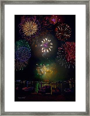 Fourth Of July Fireworks Framed Print by Marie Hicks