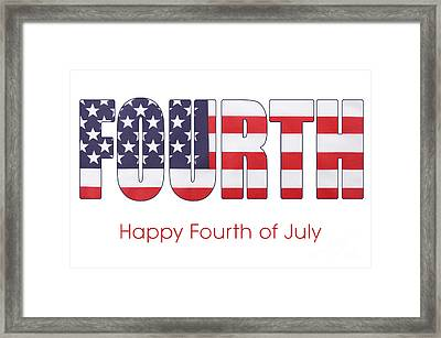 Fourth Of July Flag Letters Outline Framed Print by Milleflore Images