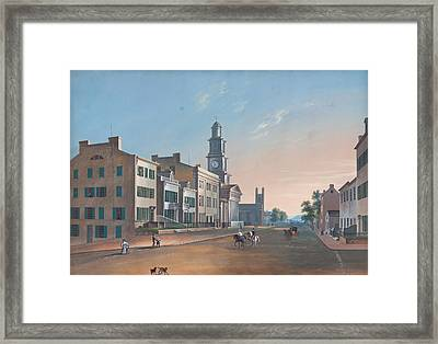 Framed Print featuring the painting Fourth Street. West From Vine by John Caspar Wild