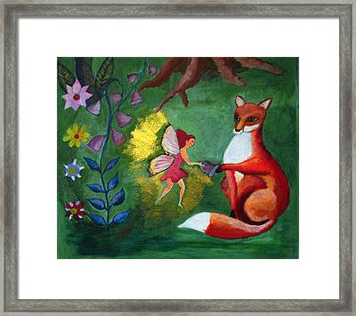 Fox And Fairy Framed Print by Emily Azayeva