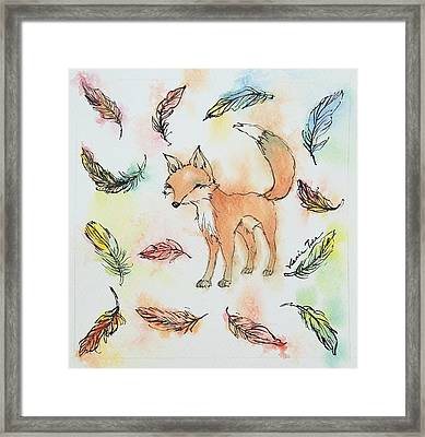 Fox And Feathers Framed Print by Venie Tee