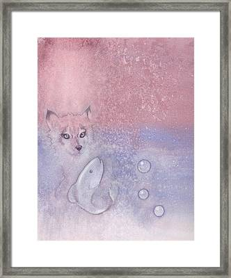 Fox And Fish Framed Print by Christine Winters