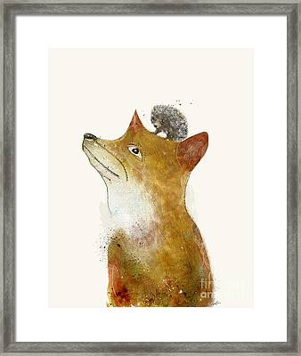 Framed Print featuring the painting Fox And Hedgehog by Bri B