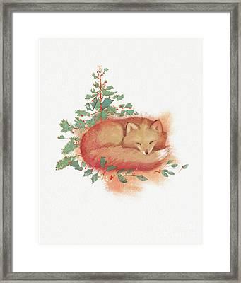 Fox And Holly Framed Print