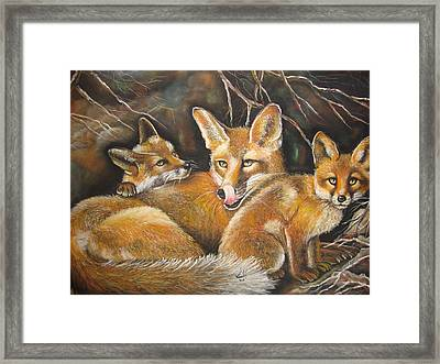Fox And Kits Framed Print