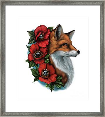 Fox And Poppies Framed Print