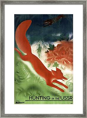 Fox Chased By A Hunting Dog Among The Woods In Russia - Vintage Poster From Ussr  Framed Print