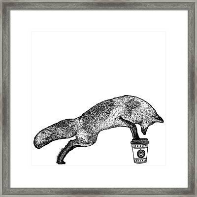 Fox Drinking Coffee Framed Print by Karl Addison