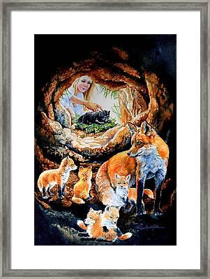 Fox Family Addition Framed Print