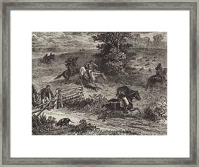 Fox Hunting In Virginia Framed Print by George Augustus Sala