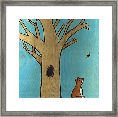 Fox In The Fall Framed Print