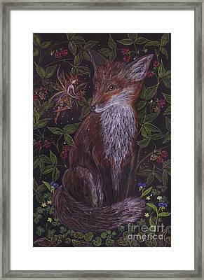 Fox In The Raspberries Framed Print by Dawn Fairies