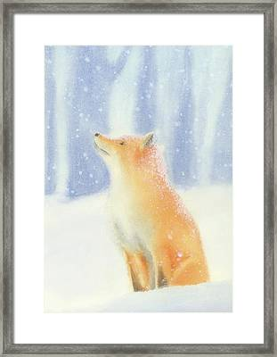 Framed Print featuring the painting Fox In The Snow by Taylan Apukovska