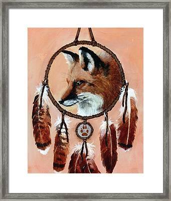 Fox Medicine Wheel Framed Print