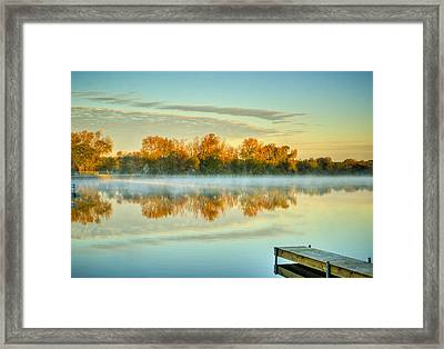 Fox River Above Mchenry Dam At Sunrise Framed Print