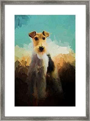 Fox Terrier On Alert Framed Print by Jai Johnson