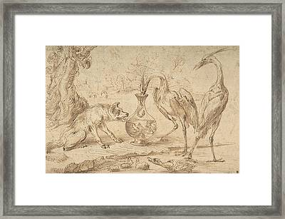 Fox With Two Herons Framed Print
