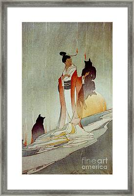 Framed Print featuring the photograph Fox Woman 1912 by Padre Art
