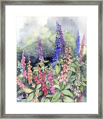 Foxgloves Framed Print by Val Stokes
