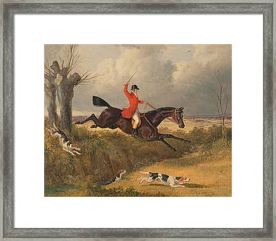 Foxhunting Clearing A Ditch Framed Print