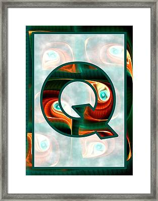 Fractal - Alphabet - Q Is For Quizzical Framed Print by Anastasiya Malakhova