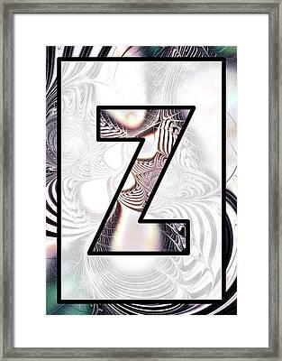 Fractal - Alphabet - Z Is For Zebra Colors Framed Print by Anastasiya Malakhova
