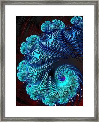Fractal Art - Blue Wave Framed Print by HH Photography of Florida