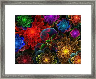 Fractal Bouquet Framed Print