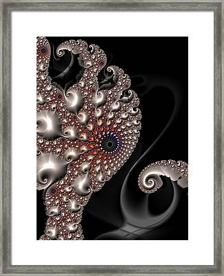 Framed Print featuring the digital art Fractal Contact - Silver Copper Black by Matthias Hauser