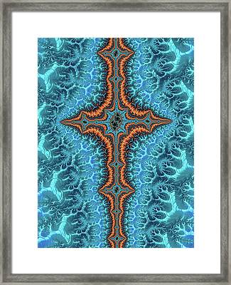 Framed Print featuring the digital art Fractal Cross Turquoise And Orange by Matthias Hauser
