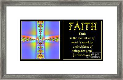 Framed Print featuring the digital art Fractal Faith Hebrews 11 by Rose Santuci-Sofranko
