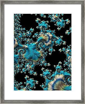 Fractal Filigree Blue Framed Print by Susan Maxwell Schmidt