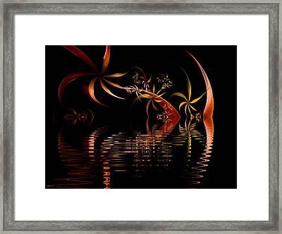 Fractal Fireworks Reflections Framed Print