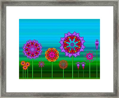 Whimsical Fractal Flower Garden Framed Print