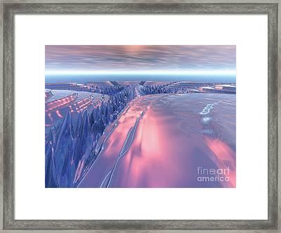 Fractal Glacier Landscape Framed Print