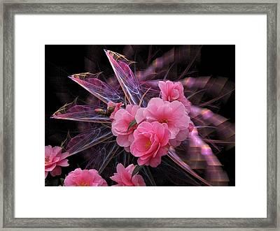 Fractal Meets Camellia  Framed Print