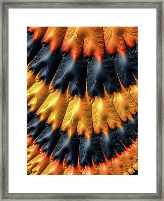 Framed Print featuring the digital art Fractal Pattern Orange And Black by Matthias Hauser