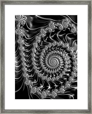 Fractal Spiral Gray Silver Black Steampunk Style Framed Print by Matthias Hauser