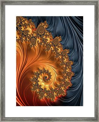 Framed Print featuring the digital art Fractal Spiral Orange Golden Black by Matthias Hauser