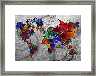 Fractals And Flowers Everywhere Framed Print by Issabild -